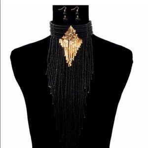 Jewelry - Black Bead Choker Necklace Set
